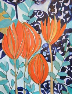 Painting by Lulu deKwiatkowski. Adore the color combination of orange + various blues.