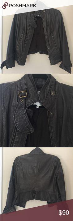 BB Dakota Leather Jacket Excellent condition! Moto style leather jacket. Slightly cropped. Super cute peplum back. BB Dakota Jackets & Coats