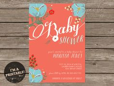 PRINTABLE Baby Shower Invitation  baby girl by papertieaffair, $12.00