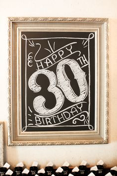 What did we do before chalkboards came back in vogue? Love 'em! See More on SMPLiving: http://www.stylemepretty.com/living/2014/10/10/black-gold-30th-birthday-party/