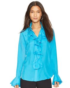 Silk Ruffled Blouse - Lauren Long-Sleeve - RalphLauren.com