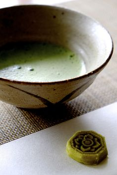 Tea ceremony - traditionally a small sweet is presented before the tea ceremony to enhance the slight bitterness of the Matcha tea.