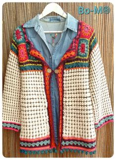 New Crochet Jacket Granny Square Beautiful Ideas Cardigan Au Crochet, Gilet Crochet, Crochet Coat, Crochet Jacket, Crochet Cardigan, Crochet Clothes, Beau Crochet, Pull Crochet, Mode Crochet