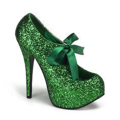 5 3/4 Green Glitter Pumps w/Ribbon Lace - $65.00 : Clubwear, Pole Dancing Clothes, Exotic Wear
