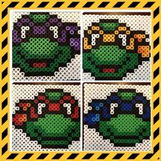 Satz von 4 Teenage Mutant Ninja Turtles, Michelangelo Leonardo Donatello Raphael, Perler, Coaster, Hama Perlen