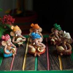 Bring these set of 6 attractive and auspicious Ganesha Musician Idols handmade from Terracotta to give a vibrant and graceful appeal to your Puja room and Home decoration. This bright set includes 6 Terracotta musical Ganesha Idols in Colourful Dhoti and Clay Wall Art, Clay Art, Ganpati Decoration Theme, Clay Ganesha, Biscuit, Ganesha Pictures, Happy Ganesh Chaturthi, Ganpati Bappa, Pottery Sculpture