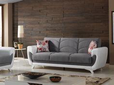 Canapeaua extensibila Kugu, impbina clasicul cu modernul. Elemente clasice, precum stofa si arcurile sunt completate de un design atractiv, in culori moderne, totodata accesorizate de pernele care vin la pachet cu aceasta uimitoare canapea. #SomProduct #home #sofa #gray #cloth #classic