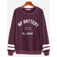 Purple Varsity Striped And Letter Print Sweatshirt (€21) ❤ liked on Polyvore featuring tops, hoodies, sweatshirts, long sleeve tops, sweater pullover, striped top, print sweatshirt and purple top