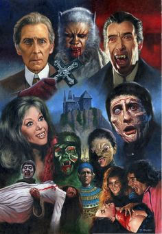 "Classic Hammer Films Art : ""Hammer House Of Horror"" by Les Edwards Classic Monster Movies, Classic Horror Movies, Classic Monsters, Horror Movie Characters, Horror Movie Posters, Horror Icons, Horror Comics, Hammer Horror Films, Hammer Films"