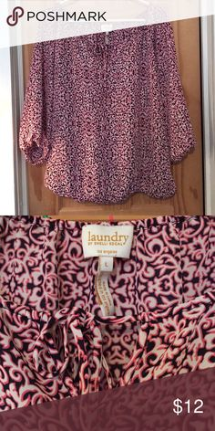 Laundry by Shelli Segal Blouse This is a large Laundry blouse it's pink, white, and navy blue. It's so cute! It looks great with cute shorts or jeans! The sleeves are mid length Laundry by Shelli Segal Tops Blouses
