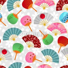Vecteur : seamless pattern with Japanese fans