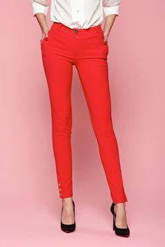 Comanda online, Pantaloni LaDonna Classic Style Red. Articole masurate, calitate garantata! Spring New, Special Events, Sunnies, Classic Style, Capri Pants, Spandex, Red, Collection, Fashion