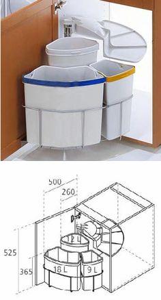 Poubelle rotative tri s lectif pour meuble d 39 angle - Meuble cache poubelle cuisine ...