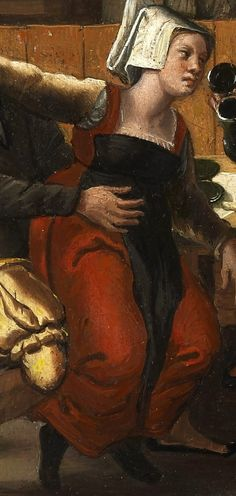 "Detail from ""An Inn with Acrobats and a Bagpipe Player"". Tudor Costumes, Medieval Costume, Medieval Dress, Historical Clothing, European Clothing, Female Clothing, Historical Costume, 16th Century Clothing, Dutch Golden Age"