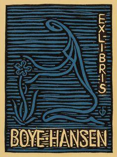 bookplate by C.W. Bauditz for Boye-Hansen, 1967