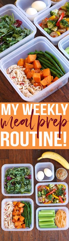 You'll love my Weekly Meal Prep Routine complete with all my favorite go-to healthy recipes and tons of tips to help get you started! The post You'll love my Weekly Meal Prep Routine complete with all my favorite go-to … appeared first on Diet. Healthy Drinks, Healthy Snacks, Healthy Recipes, Cooking Recipes, Fitness Snacks, Fitness 24, Eat Clean Recipes, Clean Eating Meals, Healthy To Go Meals
