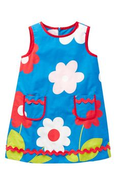 Mini Boden 'Funky Print' Dress.  Basic A-line dress pattern, love the pockets and rickrack trim.