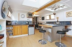 2 bedroom property for sale in Packet Boat Marina, Uxbridge, - Guide price Luxury Houseboats, Boat Marina, Beams, Property For Sale, Bedroom, Kitchen, Table, Furniture, Photos