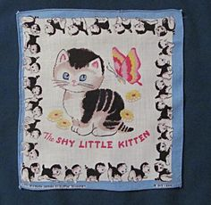 Two Children's Handkerchiefs  - Poky Puppy and Shy Kitten