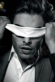 Jon Kortajarena folding his eyes, Spanish model hottie b/w