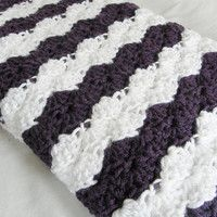 Ready To Ship Eggplant Purple and White Baby Toddler Afghan Crib Blanket Baby Shower Gift