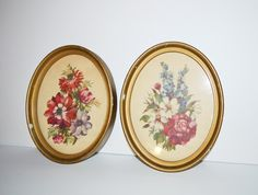 Vintage Floral Prints by Ann Cochran in Original Oval Frames Floral Print Wall Hangings Flower Pictures on Etsy, $40.00