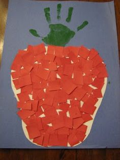 torn or cut paper with hand print.I'm using this Dr. Seuss Week for 10 apples on top