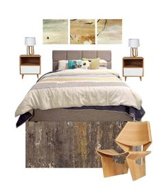 Style board for a contemporary bedroom design using a soft sophisticated colour scheme. Contemporary Bedroom, Contemporary Design, Traditional Bedroom, Color Schemes, Boards, Colour, Inspired, Interior Design, Wood