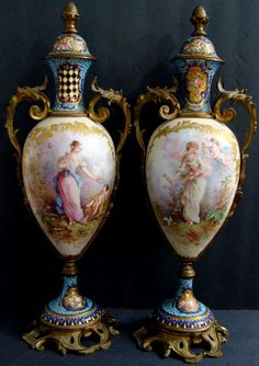 Pair of Sevres Champleve  Enamel Bronze Urns