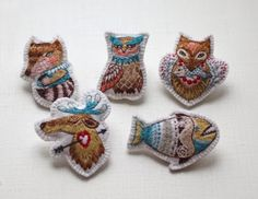 """Nadya Sheremet: Hand embroidery brooches """"My forest friends"""""""