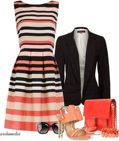 Striped A-Line Dress Teamed With Professional Jacket