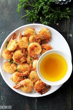 """Baked Batter """"Fried"""" Shrimp with Garlic Dipping Sauce 