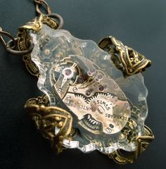 steampunk meets leaded crystal . . Old World Romance Jewelry by vintage filagree.