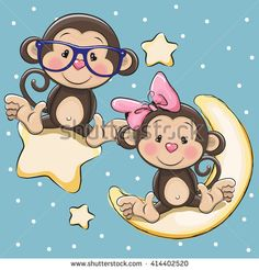 Valentine card with Lovers Monkeys on a moon and star