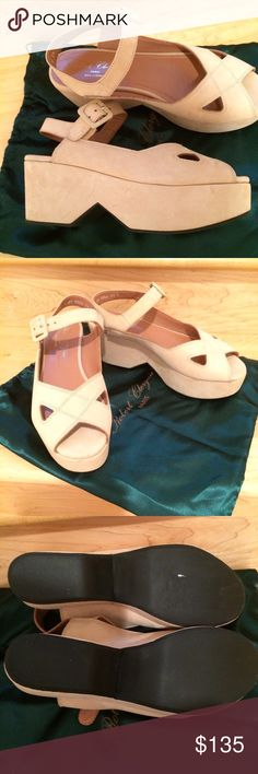 Robert Clergerie, nude suede wedges, NWT, 8.5 Robert Clergerie, made in Paris, France. Nude color suede platform wedges. NWT: with original box and dust bag. Size 8.5. Shoes Platforms