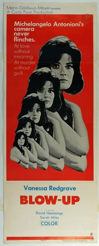 "Vanessa Redgrave (January 30, 1937)    ORIGINAL USA MOVIE POSTER INSERT 14 X 36 ""BLOW - UP"" 1967 VANESSA REDGRAVE"
