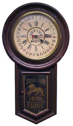 Advertising clock: Bold Lion Iron Tonic