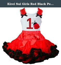 Kirei Sui Girls Red Black Pettiskirt Number 1 Ladybug Top Birthday Party Dress X-Small. High quality cotton tee with matching tutu. This beautiful tutu with bow and satin trim. The tutu is made with yards of polyester chiffon and is lined with beautiful pieces of ribbon! It is then sewn for added quality and durability so it will not come untied. The tutus waistband is stretchy elastic for added comfort and growth. We recommend wearing something underneath like leggings or bloomers. Tee...