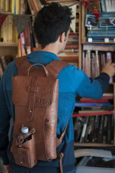 Leather bag, leather backpack, handbag. Model Vintage by Ludena. Laptop bag, multifunction bag, for work and for going out with friends.