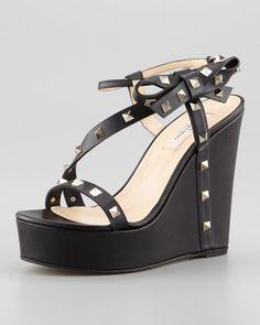 Rockstud Bow Wedge Platform Sandal, Black by Valentino at Neiman Marcus.