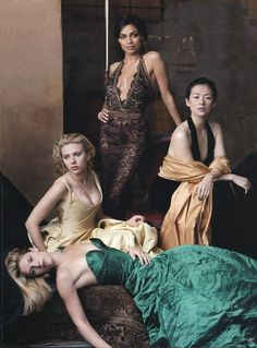Scarlett Johansson with Rosario Dawson, Claire Danes and Ziyi Zhang in the Vanity Fair Hollywood issue 2005   By Annie Leibovitz