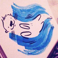 Insert otter pun #latenight #otter #feedtheanimalspdx #ink #Illustration #doodles