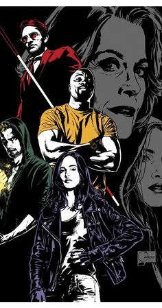"""From the Marvel collective, the """"Defenders"""": Daredevil, Luke Cage, Jessica Jones, Iron Fist. Ms Marvel, Marvel Comics, Heros Comics, Marvel Heroes, Mundo Marvel, Marvel Art, Marvel Defenders, The Defenders Netflix, Luke Cage"""