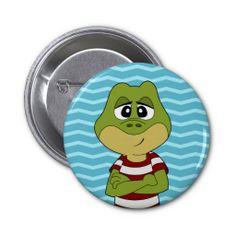 Green frog cartoon button