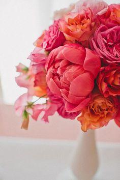 peach, coral, garden rose, coral peonies, modern, ranunculus, Spring, Summer, pink