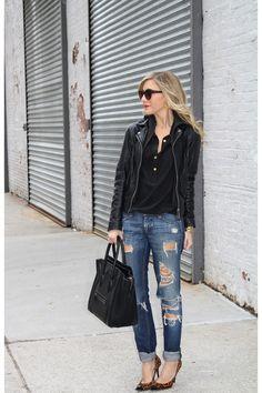 black tote Celine bag - navy Jeans jeans - black leather jacket Doma jacket