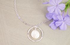 Coin Freshwater Pearl & Eternity Circle Sterling Silver Necklace, Birthstone Necklace