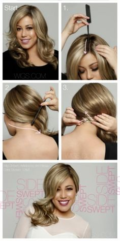 Fashion and Beauty - Side Swept Hair Tutorial Side Hairstyles Tutorial, Side Swept Hairstyles, Messy Hairstyles, Elegance Hair, Elegant Hairstyles, Pretty Hairstyles, Side Swept Curls, Side Sweep Hair, Tips Belleza