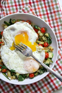 Sweet Potato Hash with Perfect Fried Eggs - recipe from RecipeGirl.com