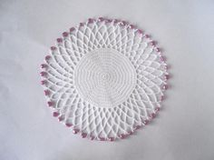 White Crochet Beaded Jug Cover with Pink Beads by crochetbypamela